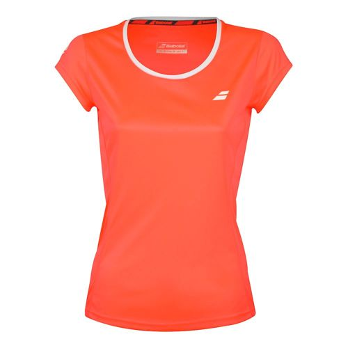 Babolat Core Flag Club T-Shirt Girls - Coral, White
