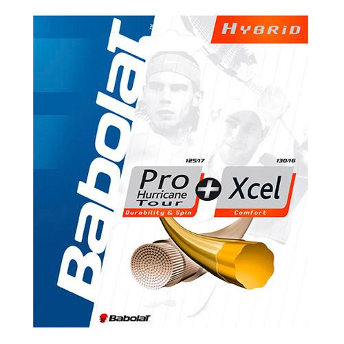 Babolat Pro Hurricane Tour + Xcel Hybridsaite String Set - Yellow, Ecru