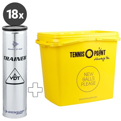Dunlop Trainer 18x 4 Ball Tube Plus Ball Bucket