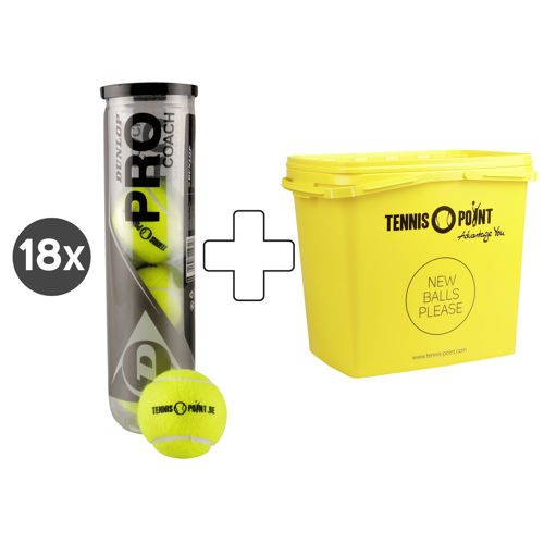 Dunlop Pro Coach 18x 4 Ball Tube With Tennis-Point Logo, Plus Ball Bucket
