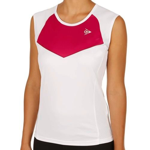 Dunlop Performance Micro Sleeve Tank Top Women - White, Dark Red