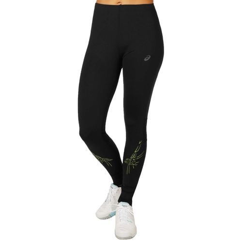 Asics Stripe Tight Training Pants Women - Black, Light Green