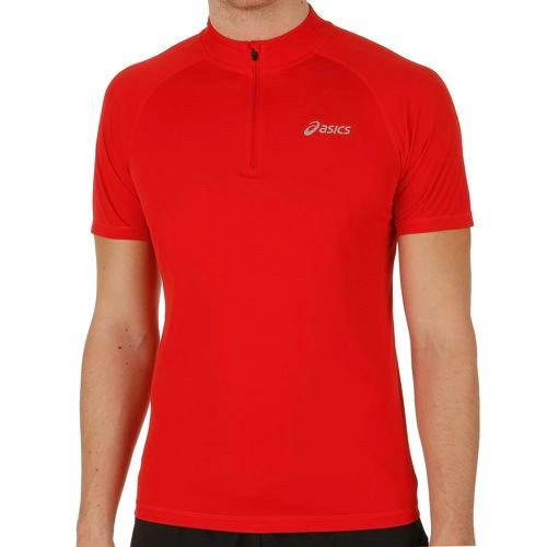 Asics Shortsleeve 1/2 Zip Top T-Shirt Men - Dark Red