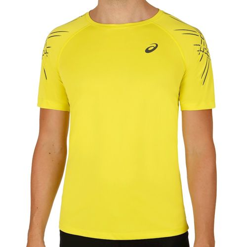 Asics Shortsleeve Asics Stripe Top T-Shirt Men - Yellow