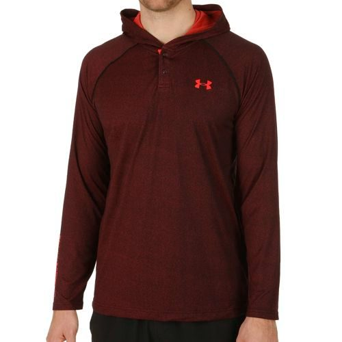 Under Armour Tech Popover Henley Hoody Men - Black, Red