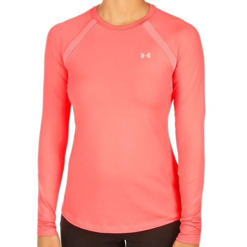 Under Armour Coldgear Crew Compression Long Sleeve Women - Coral, Silver