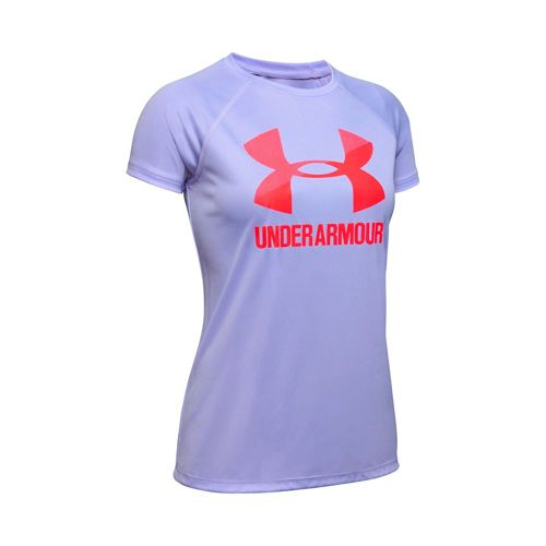 Under Armour Big Logo Solid T-Shirt Girls - Lilac, Red