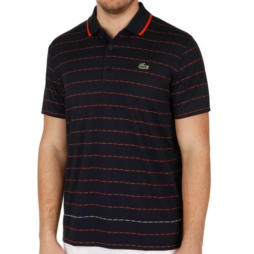 Lacoste Performance Shortsleeved Ribbed Collar Polo Men - Dark Blue, Red