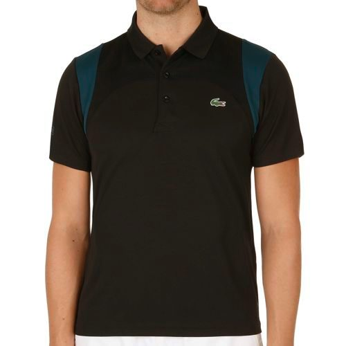 Lacoste Performance Shortsleeved Ribbed Collar Polo Men - Black, Petrol
