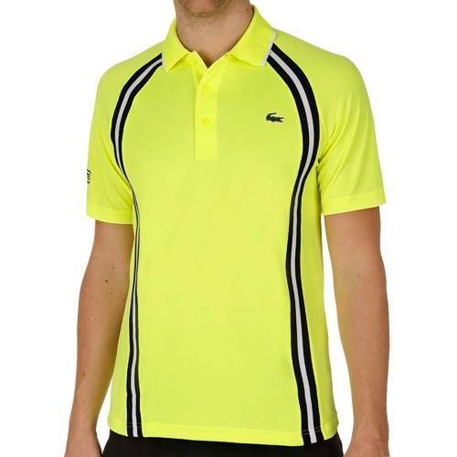 Lacoste Performance Shortsleeved Ribbed Collar Polo Men - Neon Yellow, Dark Blue