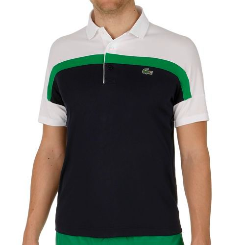 Lacoste Performance Shortsleeved Ribbed Collar Polo Men - Dark Blue, Green