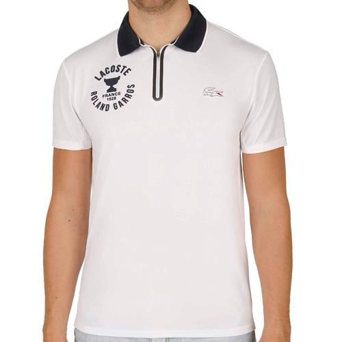Lacoste Roland Garros Shortsleeved Ribbed Collar Polo Men - White, Dark Blue
