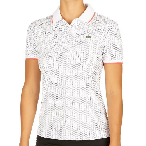 Lacoste Performance Short Sleeved Ribbed Collar Polo Women - White, Dark Blue