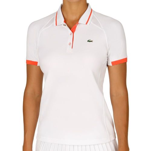 Lacoste Short Sleeved Ribbed Collar Polo Women - White, Orange