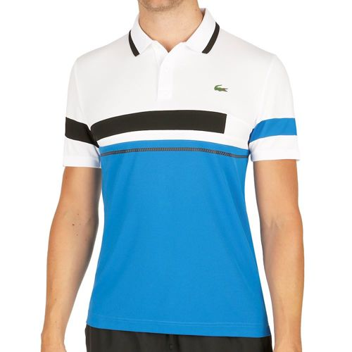 Lacoste Performance Short Sleeved Ribbed Collar Polo Men - White, Blue