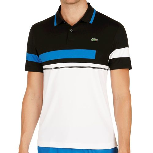 Lacoste Performance Short Sleeved Ribbed Collar Polo Men - Black, White