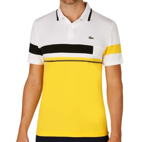 Lacoste Performance Short Sleeved Ribbed Collar Polo Men - White, Yellow
