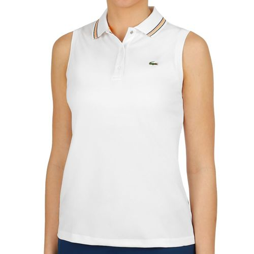 Lacoste Ribbed Collar Tank Top Women - White, Golden Yellow