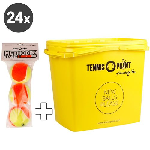 Tennis-Point Stage 2 24x 3 Pack Plus Ball Bucket