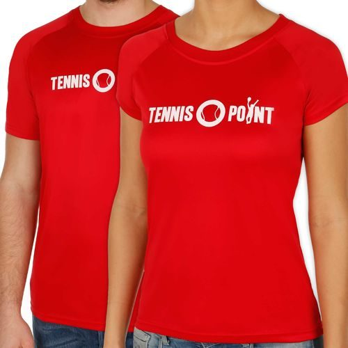 Tennis-Point Funktions Logo Crew T-Shirt - Red, White