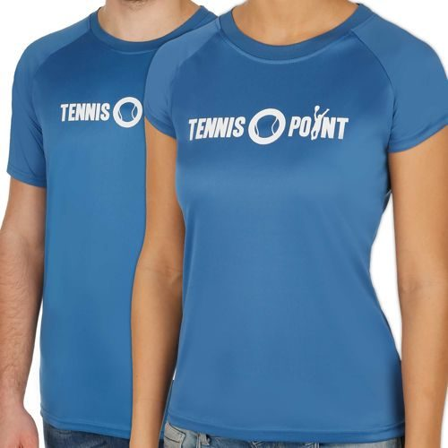 Tennis-Point Funktions Logo Crew T-Shirt - Blue, White