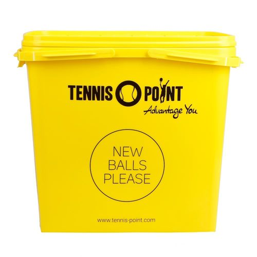 Tennis-Point Ball Bucket With Cover, Square - Yellow