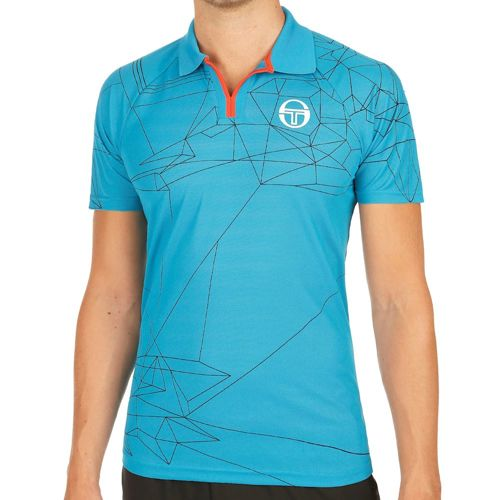 Sergio Tacchini Fragments Pique Polo Men - Blue, Orange