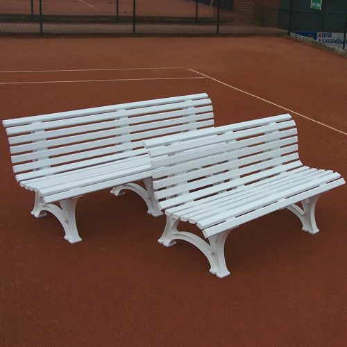 Tegra Tennis Bench With Curved Backrest - White