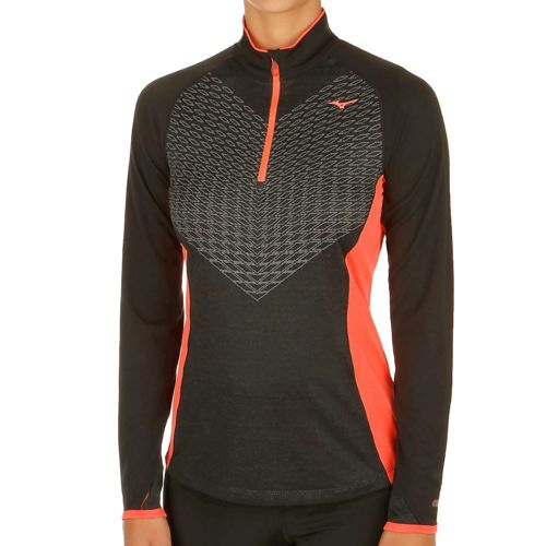 Mizuno Breath Thermo Body Mapping Long Sleeve Women - Black, Coral