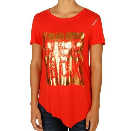 Reebok Dance Asymmetric Reebok T-Shirt Women - Red, Gold