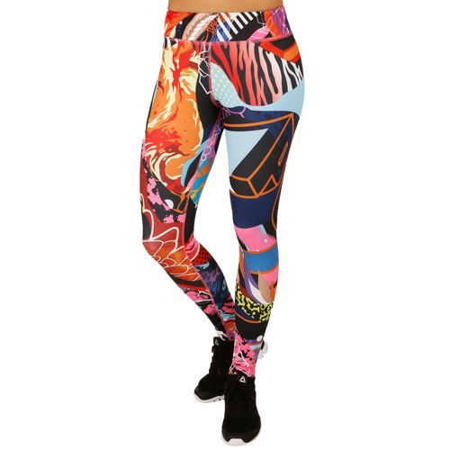 Reebok Yoga Graffiti Collab Running Pants Women - Pink, Multicoloured