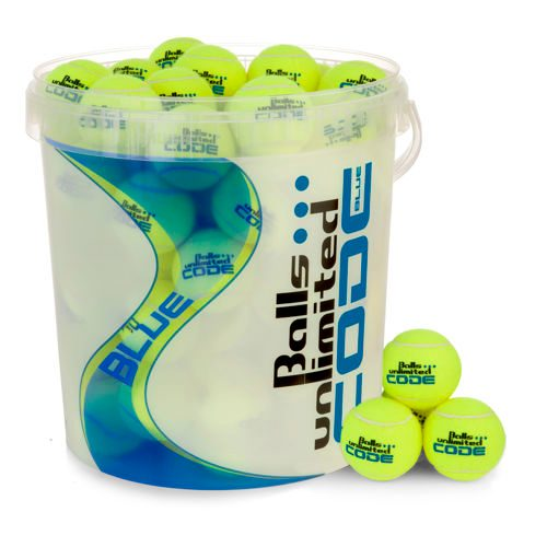 Balls Unlimited Code Blue 60 Pack Plus Ball Bucket, Pressureless