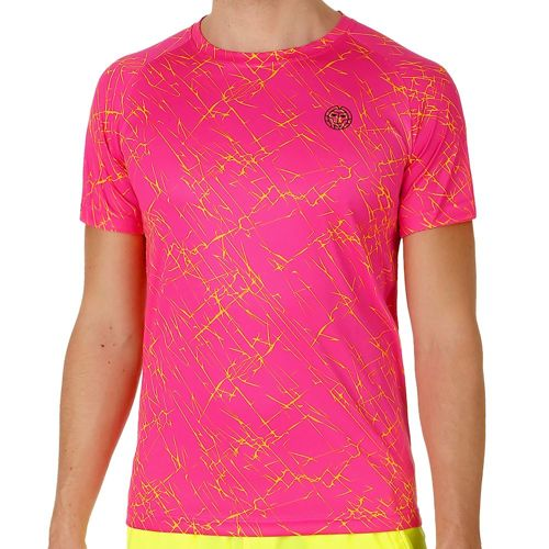 BIDI BADU Henry Tech T-Shirt Men - Pink, Yellow